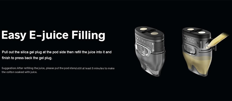 the V.THRU pods that have been designed for this kit will hold up to 2ml of e-liquid and feature side filling.