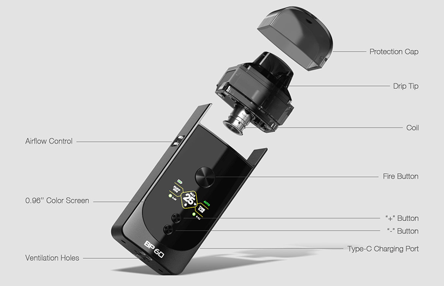 The Aspire BP60 pod kit is a sub ohm vape pod mod which can be used to create a MTL or DTL inhale.