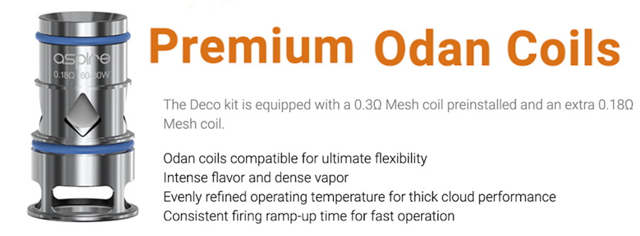 The Odan EVO tank employs the Odan mesh coil series, available in a range of sub ohm resistances with a fast heating of e-liquid.