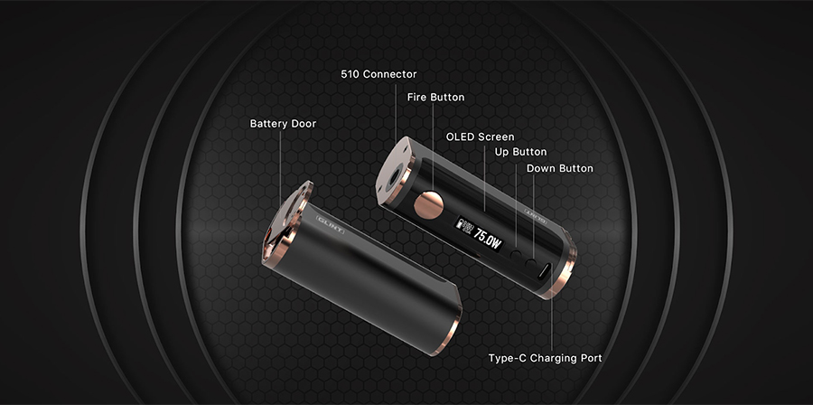 The Aspire Glint is a high performance sub ohm vape mod powered by a single 18650 battery which can be paired with the majority of vape tanks with a 510 connection.