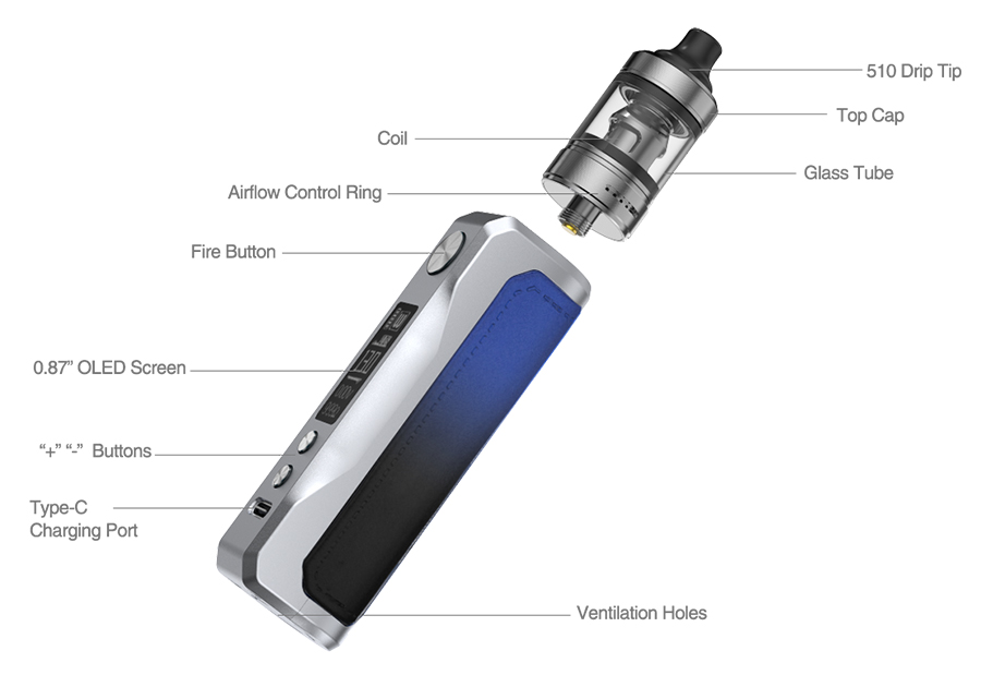 The Aspire Onixx pod kit is a vape starter kit powered by a 2000mAh battery with a 40W max output.