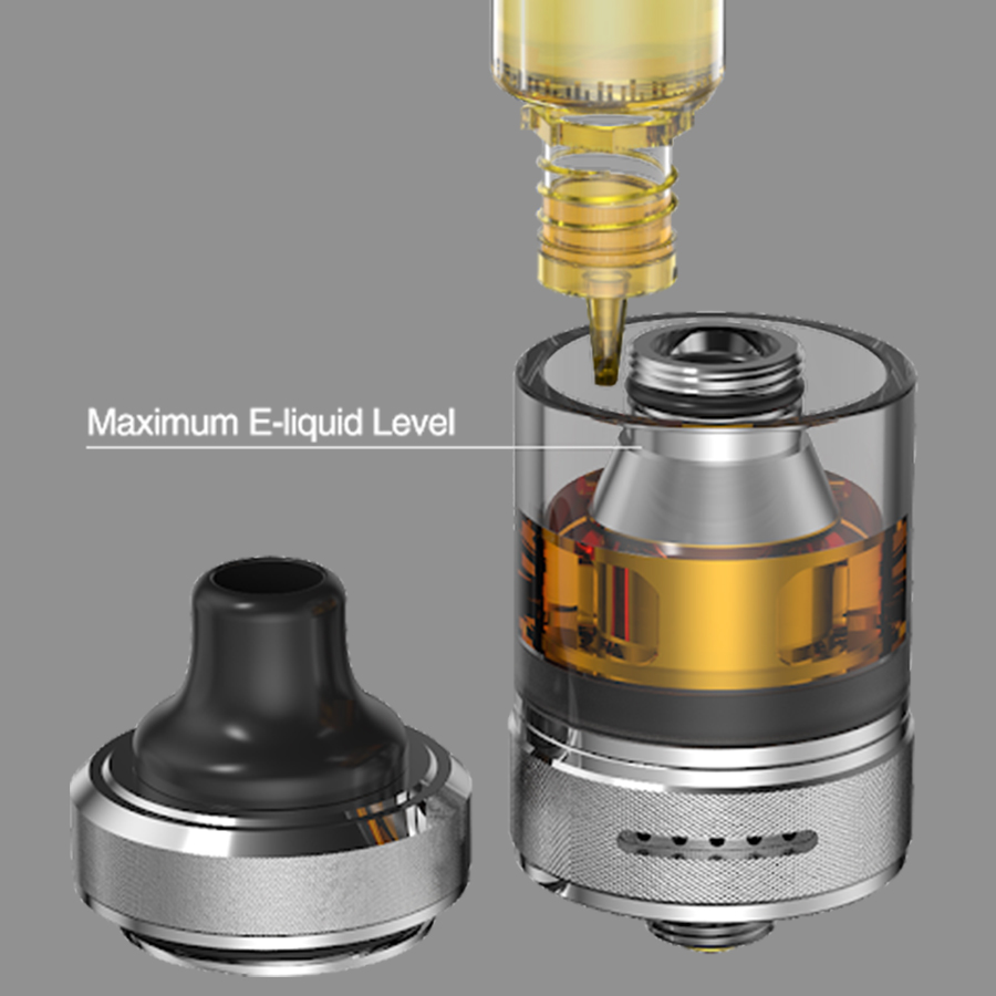 The Onixx tank features a top fill process, by unscrewing the top cap mouthpiece, for a clean and hassle-free refill