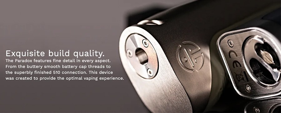 The Paradox mod is constructed from durable zinc alloy and is powered by a single 18650 battery.