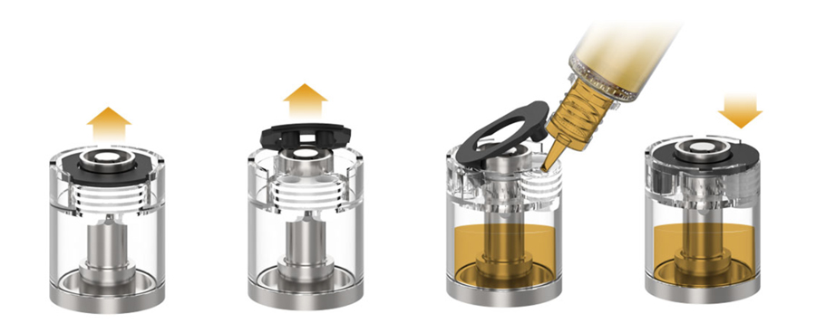 The Slym refillable 1.8ml pods feature a top refill method with a plastic flap which is lifted to reveal two juice ports to fill with e-liquid.