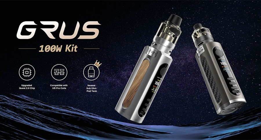 The Lost Vape Grus kit combines a high power output with a slim design, making it the ideal choice as a portable sub ohm vape kit.