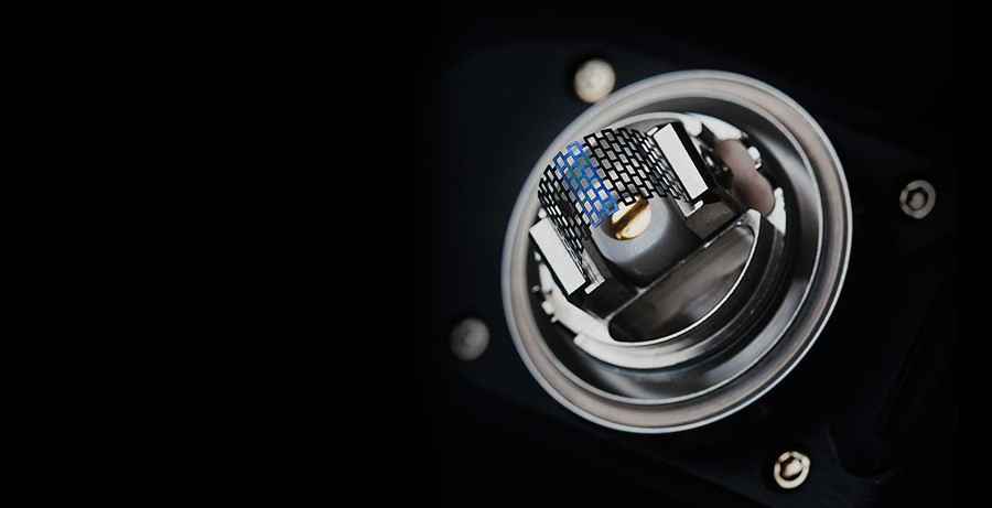 The Zeus X Mesh RTA features a spring loaded clamp deck and utilises proprietary mesh coil strips for large cloud production and clear flavour.