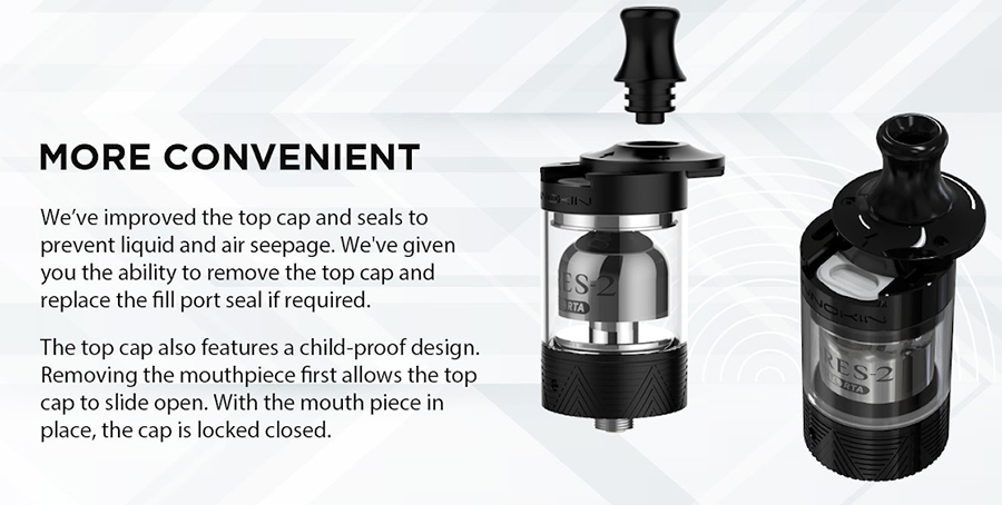The 2ml Ares 2 MTL RTA features a siding fill top cap which prevents leakage whilst also providing a hassle-free, clean refill process.