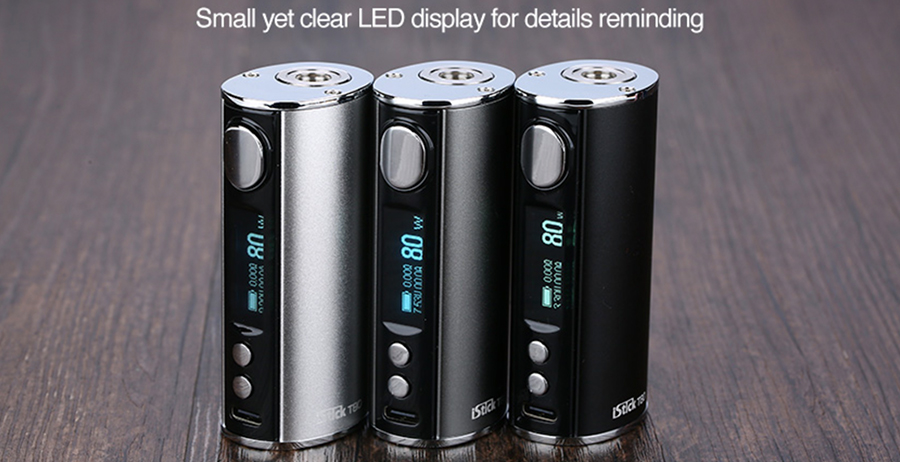 The iStick T80 mod features a striking OLED screen, displaying key vaping data such as battery life, output modes, wattage and resistance.