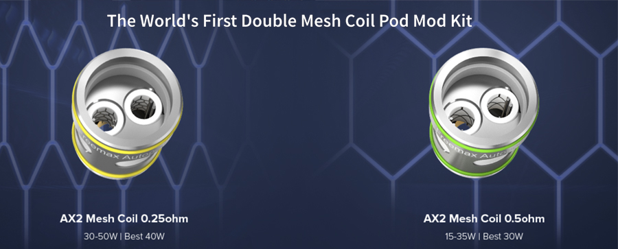 The Freemax AX2 coils are exclusively for the AutoPod50 and feature a dual mesh build for improved vapour and flavour.