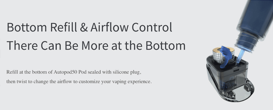 Each AutoPod refillable 2ml pod can be paired with a range of high VG e-liquid and is easy to fill.