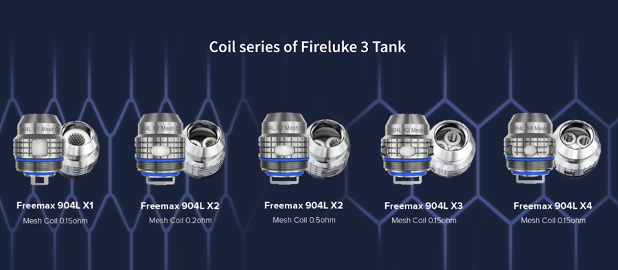 The Fireluke 3 tank employs the Freemax X mesh coil series, available in a range of sub ohm resistances.