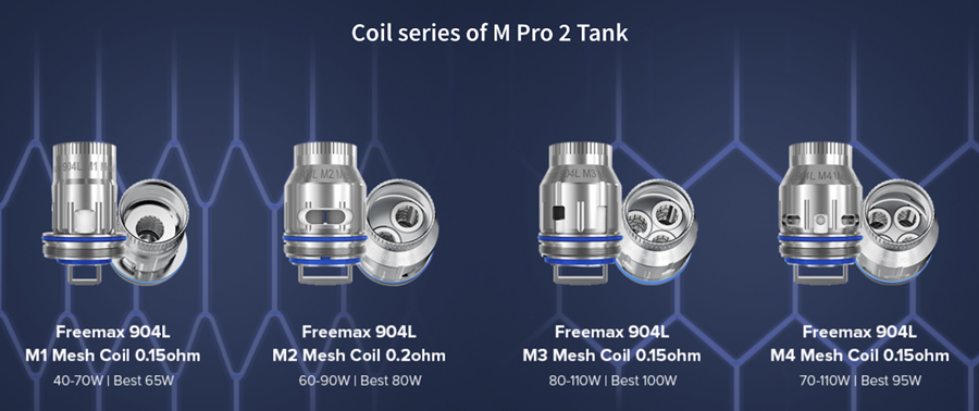 The Fireluke MPro 2 tank employs the 904L mesh coil series, available in a range of resistances delivering rich flavour extraction.