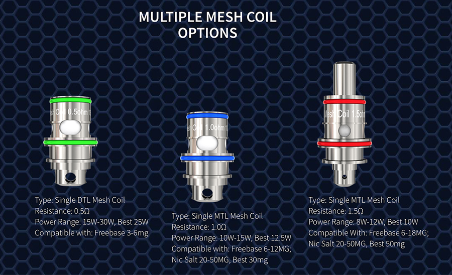 The Freemax M coils are available in different resistances to support both mouth to lung and direct to lung vaping.