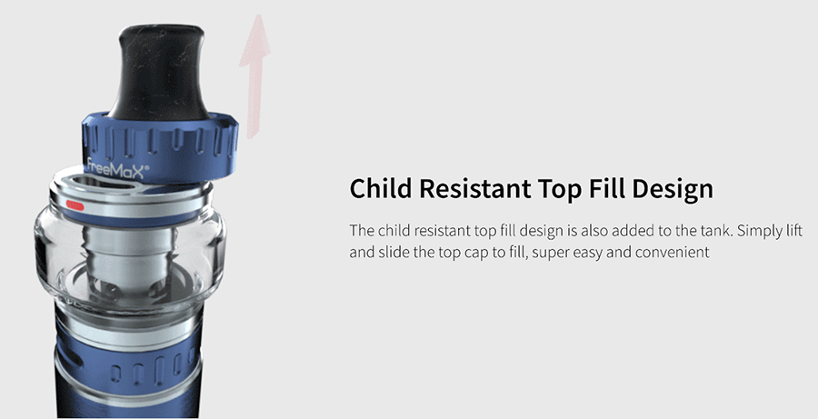 The Freemax Fireluke 22 tank features childproof top filling and bottom adjustable airflow, making set-up and maintenance both quicker and safer.
