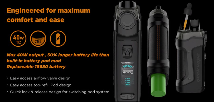 The Aegis Boost Plus features a 40W max output and is powered by a single 18650 battery, with a top refill pod as well an easy access airflow design.