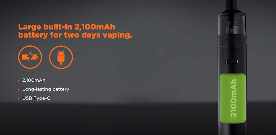 Featuring a long-lasting 2100mAh battery, the Mero kit also offers fast charging.