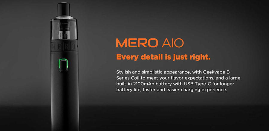 Compact and simple, the GeekVape Mero AIO is an ideal vape kit for a first-timer