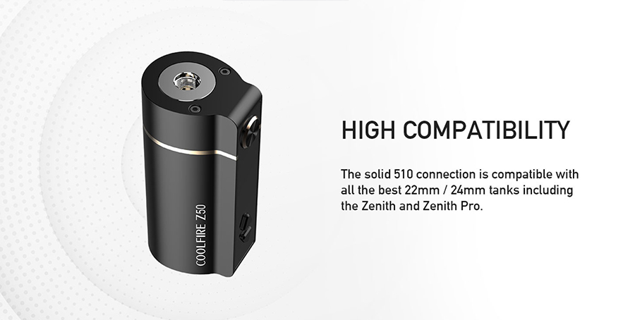 The Coolfire Z50 mod features a 510 connection point, to be paired with most vape tanks and is powered by a 2100mAh built-in battery.