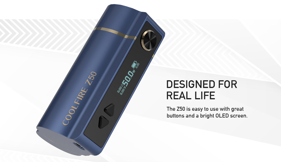 The Innokin Coolfire Z50 is a compact and lightweight sub ohm vape mod which can be used for both MTL and DTL vaping.
