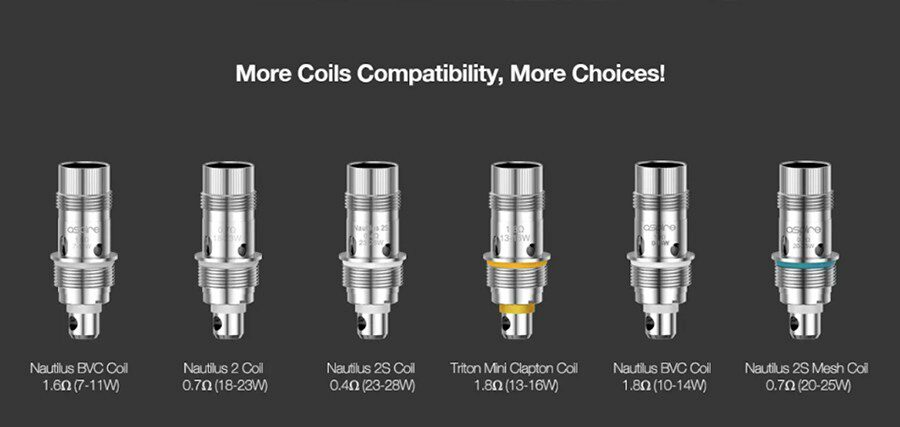 Take your pick from any of the compatible Aspire Nautilus coils and you'll be able to experience different vape styles.