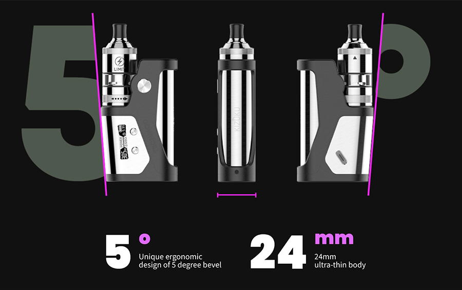 A triumph of ergonomic design, the Kizoku Techmod combines a thinner body with a shape that always feels comfortable in your hand. You can pair it with tanks and rebuildable atomisers up to 24mm in diameter.