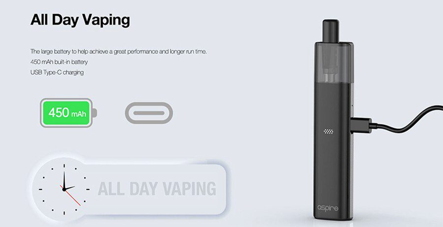 Thanks to fast USB-C charging and a built-in 450mAh battery, the Vilter kit by Aspire lasts for longer and can be charged quickly