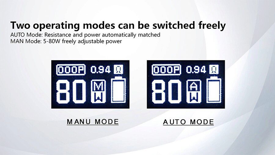 Auto mode on the Fog Stick by Sigelei means no more worrying about wattage levels. Use Manual mode to select a power output between 5 - 80W.