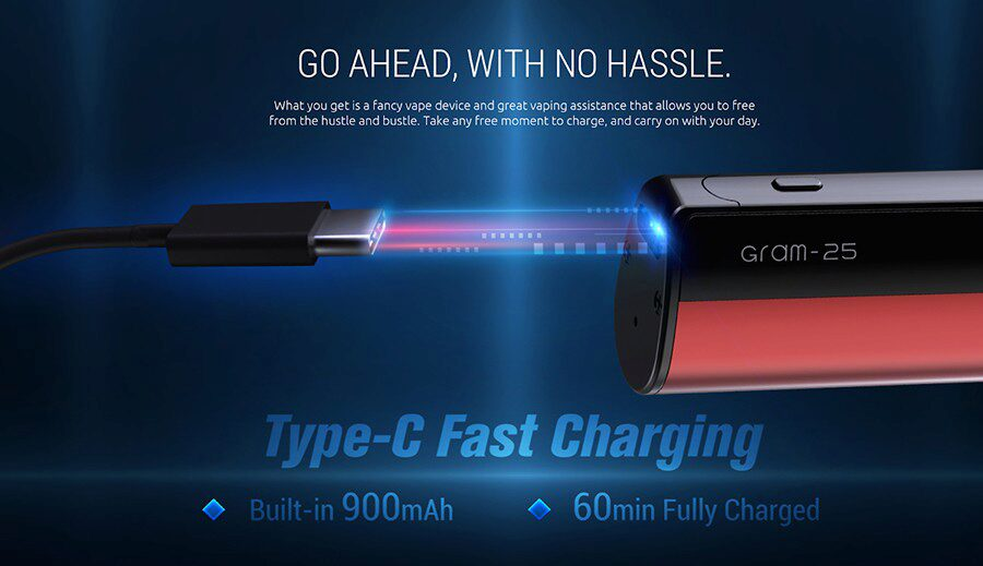 The 900mAh battery inside this kit ensures that the kit can deliver up to a full day of vaping - even at the highest wattage output.