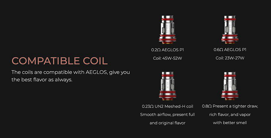 A wide range of compatible coils are available for this kit, giving you the option of MTL and DTL vaping.