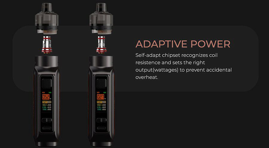 Smart coil recognition means no more guessing which wattage level is best for your coils.