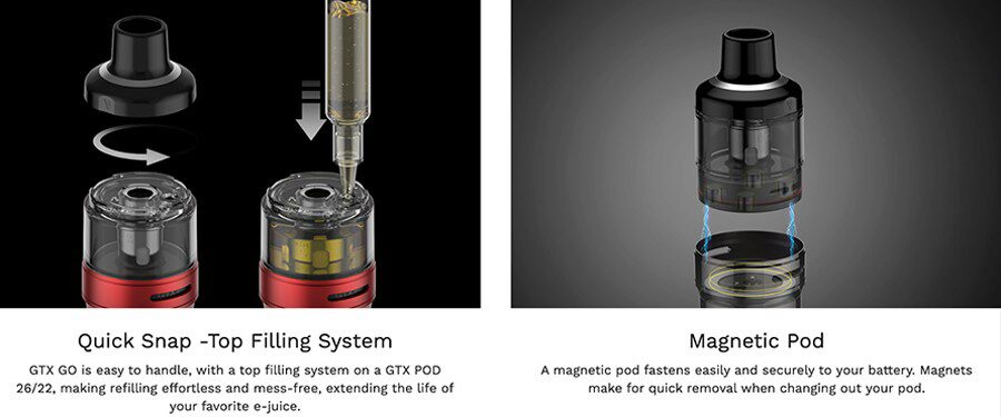 The GO 22 pod can hold up to 2ml of e-liquid and is simple to use and maintain thanks to features like top filling.