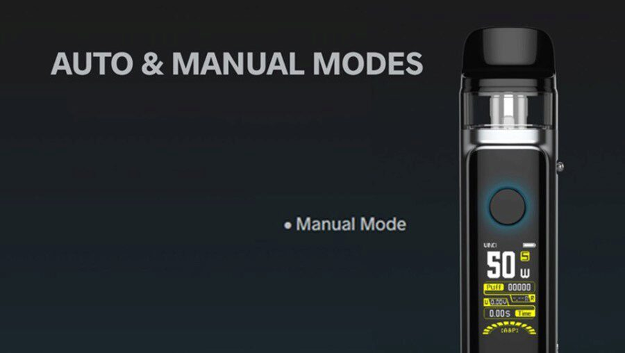 Use Manual mode to ensure a simpler vape, or Manual mode which allows you to set a wattage that best suits your style.