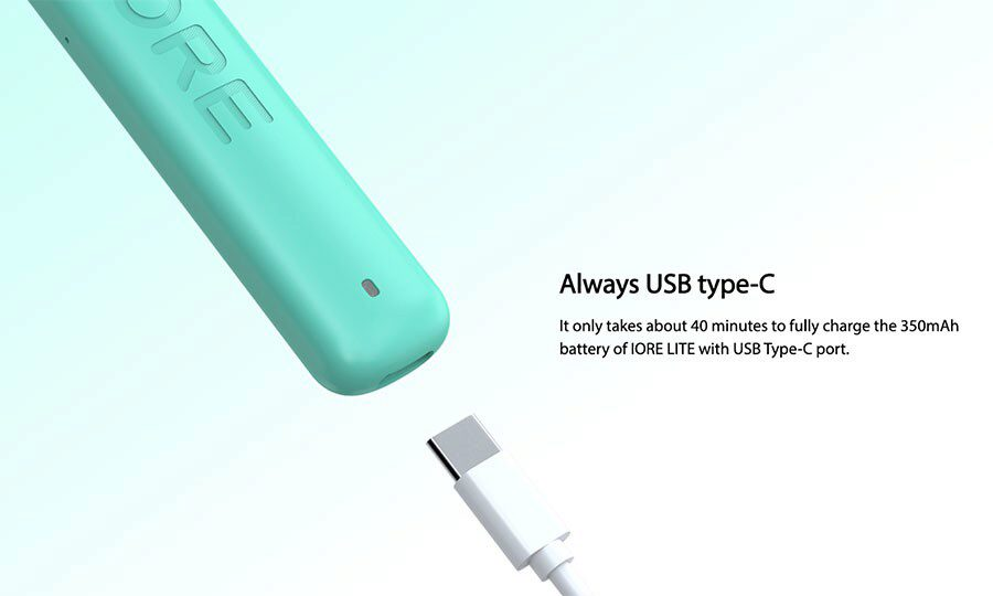 The IORE Lite pod kit combines a 350mAh battery that lasts all-day as well as fast USB-C charging.