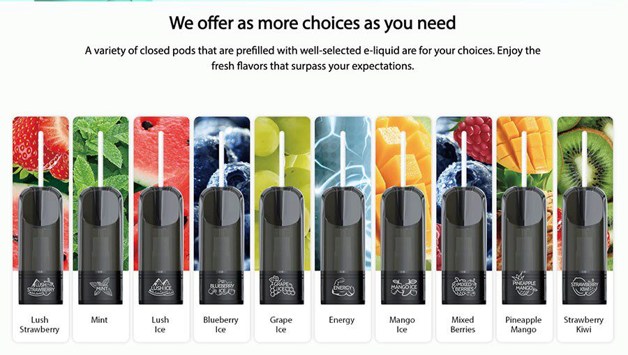 Along with refillable pods, there's also the option of specially designed IORE prefilled pods that come in a selection of fruit and menthol flavours.