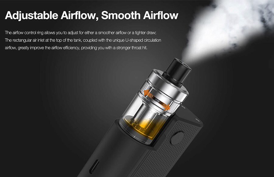 the 2ml Aspire Box tank can be paired with a wide range of e-liquids and features both top filling and adjustable top airflow.