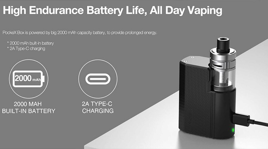 The 2000mAh battery inside the Box vape kit lasts all day and is quick to recharge.