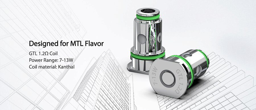 the Eleaf GTL coils create a discrete amount of vapour and can be paired with a wide selection of 50/50 and high PG e-liquids.