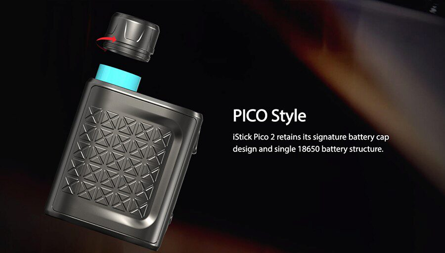 Though this is a pocket-friendly vape kit, it still finds room for an 18650 vape battery.