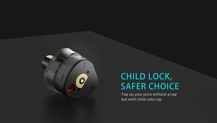 The T1 refillable pods can each hold up to 2ml of e-liquid and feature a childproof lock system.