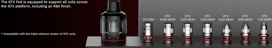 The GTX coil range is compatible with this kit, you'll have options to support MTL and DTL vaping.