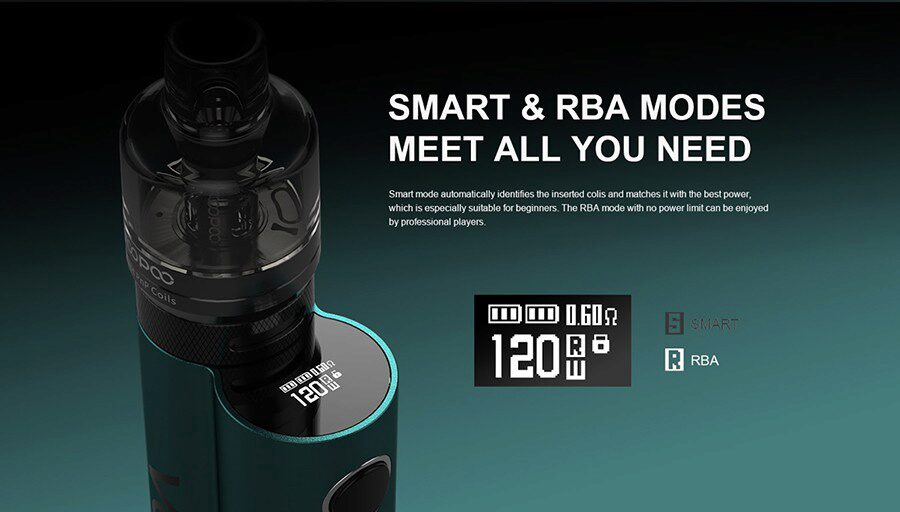 Take your pick between Smart mode for a quicker setup or RBA mode if you're looking to select your own power output between 5 - 120W.