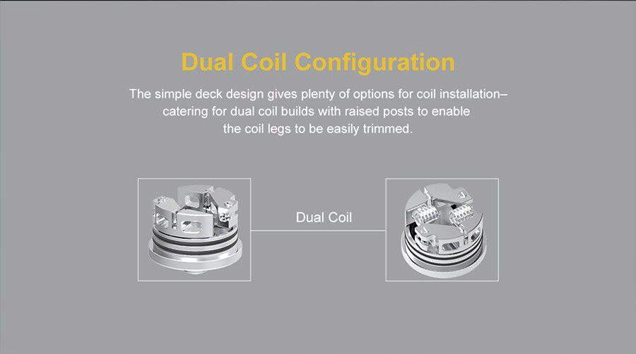 Compatible with a wide selection of rebuildable coils, the Wasp Nano S RDA features a two post deck.