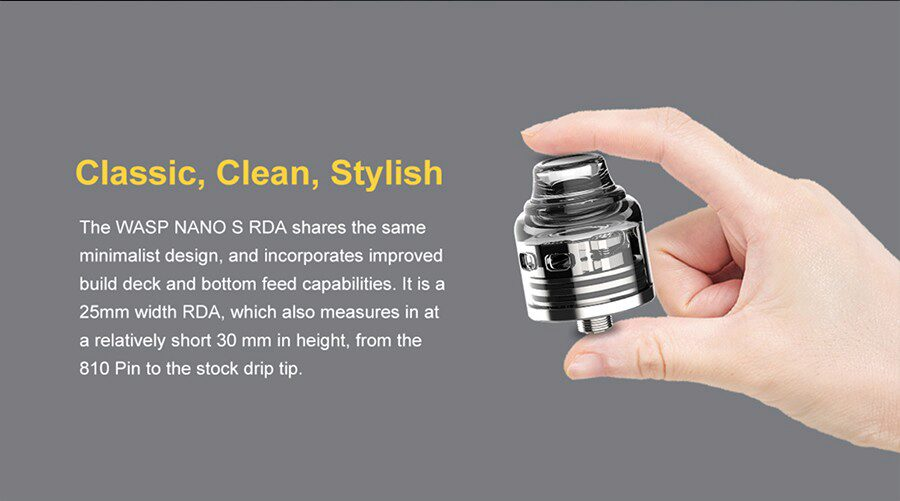Recommended for advanced vapers, the Oumier Wasp Nano S RDA can be paired with a wide range of coils for MTL and DTL vaping.