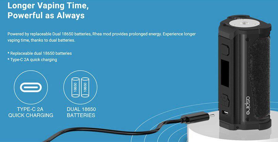 Experience more vaping between charges and a faster recharge time with the Aspire Rhea sub ohm vape device.