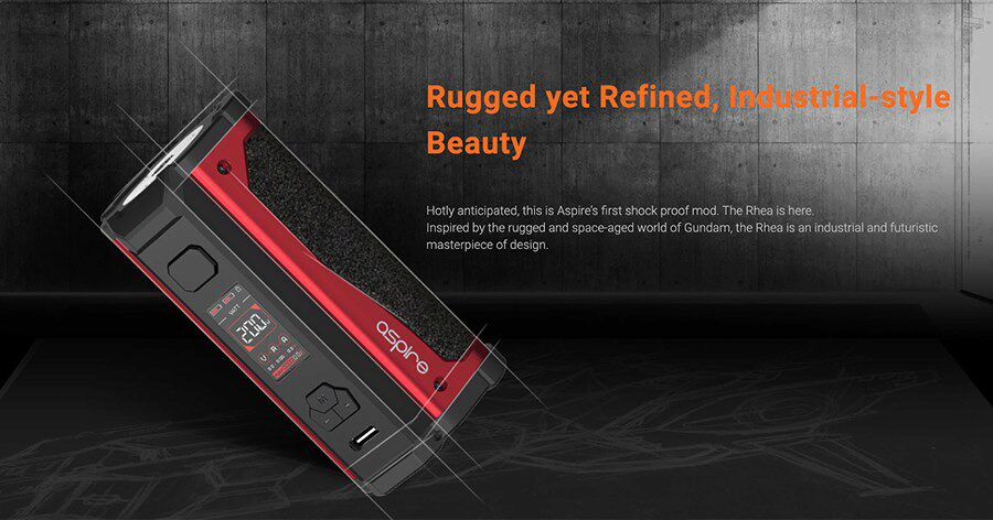 The Rhea sub ohm vape mod by Aspire is a hardwearing option that can be used to deliver either a MTL or DTL vape.