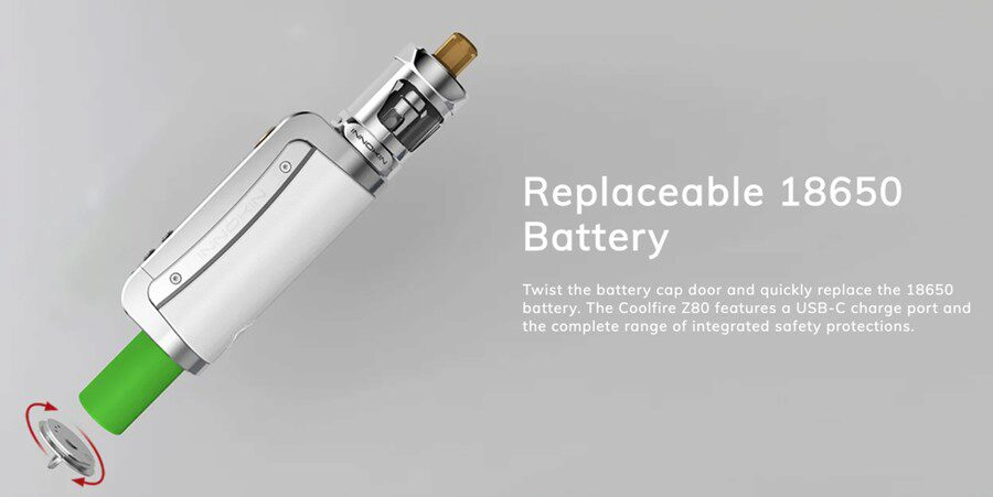 Lasting longer between charges, the Innokin Coolfire Zenith II is powered by a removable 18650 vape battery.