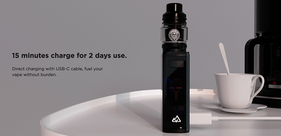Thanks to 15-minute fast recharging you can quickly get the GeekVape Obelisk 120 kit back to life again. The high capacity 3700mAh battery can also last up to two days.