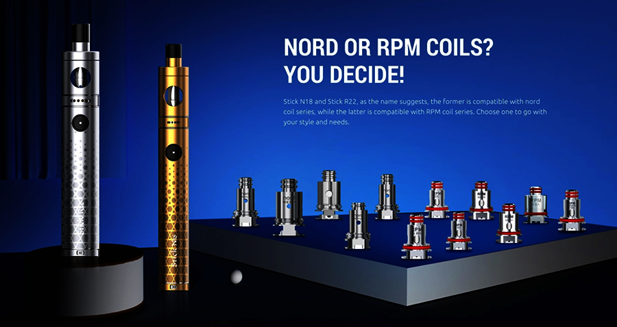 Compatible with the Nord coil range, you'll find plenty of options for MTL and DTL vaping with the Smok Stick N18 kit.