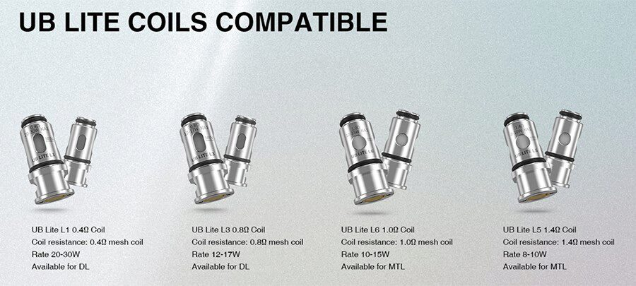 The compatible UB Lite coil range offers more options for MTL, RDTL, and DTL vaping.