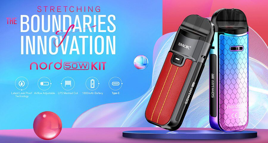 Experience sub ohm vaping in a smaller package with the Smok Nord 50W pod vape kit.